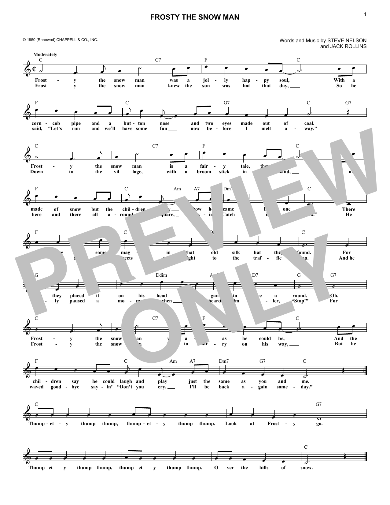 Frosty The Snowman (Lead Sheet / Fake Book)