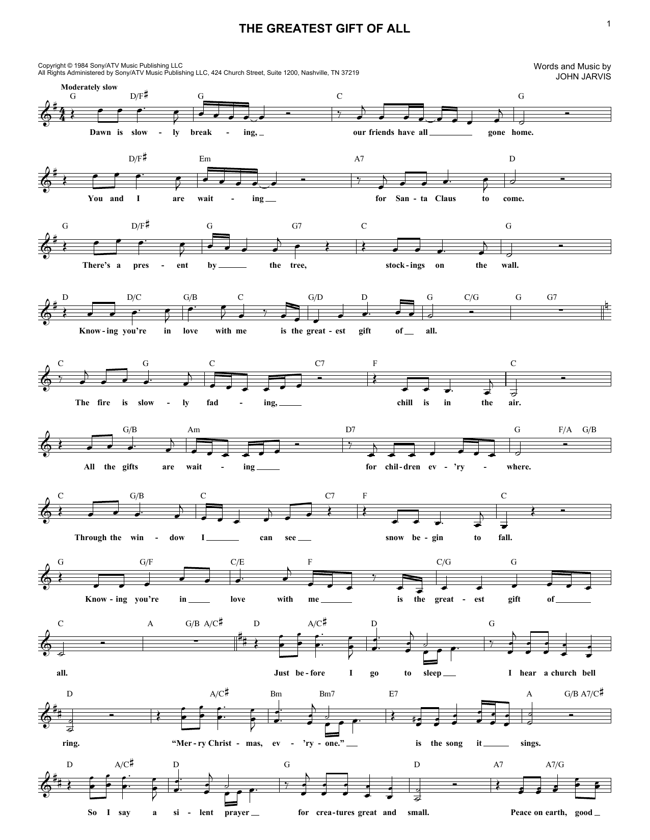 The Greatest Gift Of All (Lead Sheet / Fake Book)