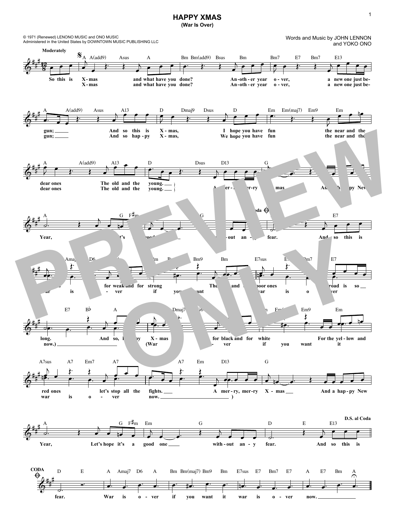 Happy Xmas (War Is Over) (Lead Sheet / Fake Book)