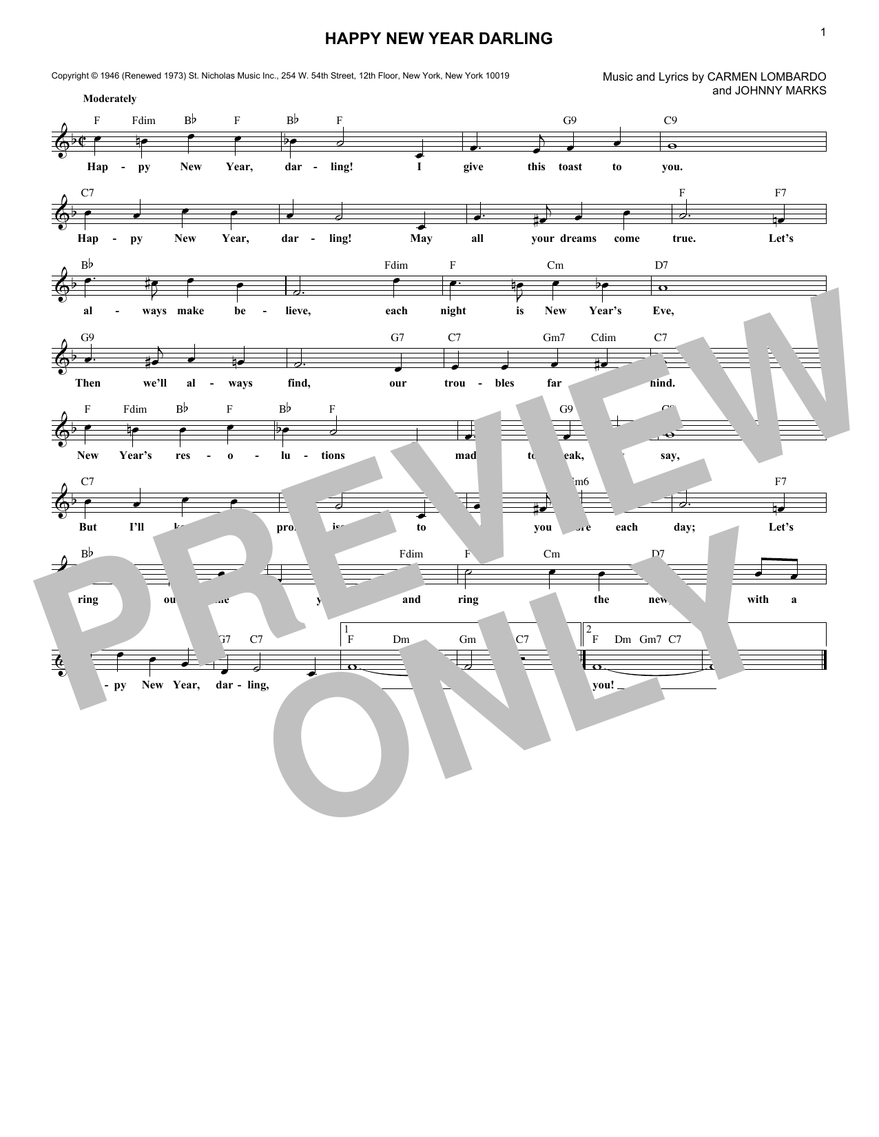 Happy New Year Darling (Lead Sheet / Fake Book)
