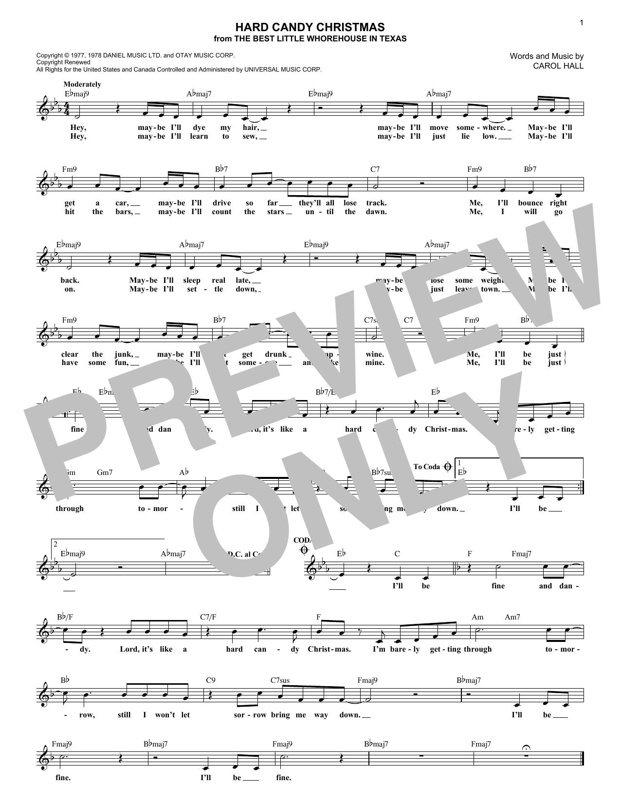 Hard Candy Christmas (Melody Line, Lyrics & Chords)