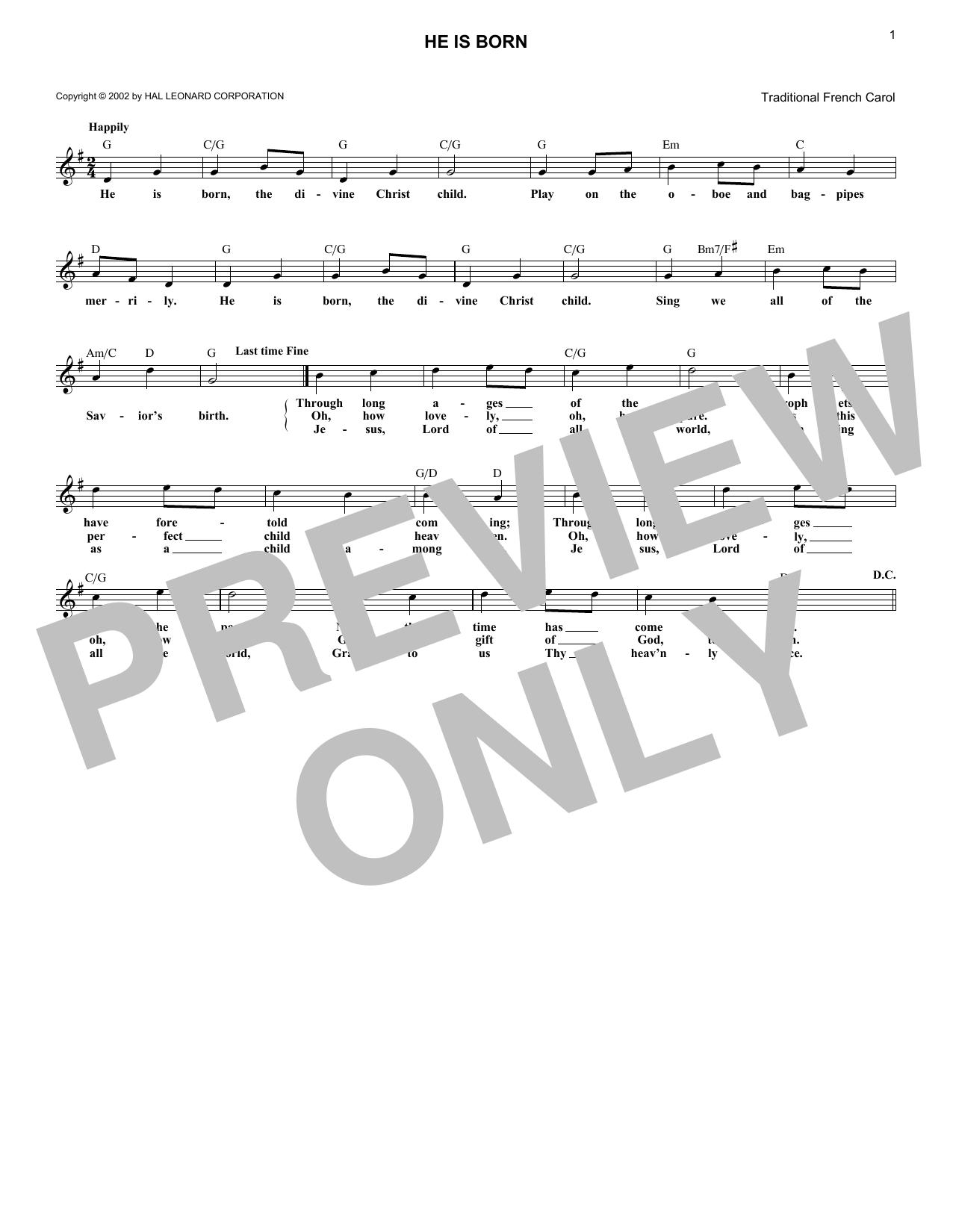 He Is Born (Melody Line, Lyrics & Chords)
