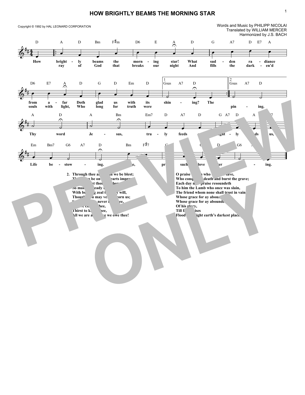 How Brightly Beams The Morning Star (Lead Sheet / Fake Book)