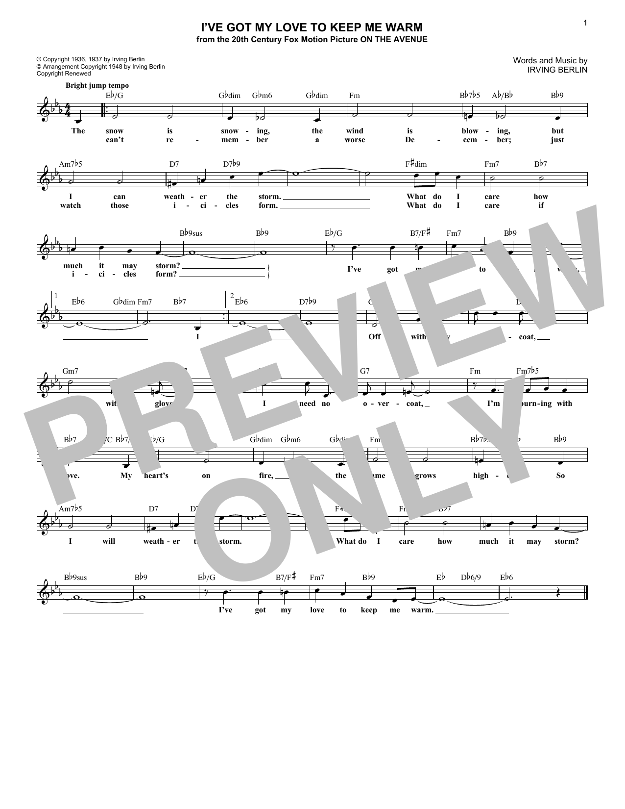 I've Got My Love To Keep Me Warm (Lead Sheet / Fake Book)