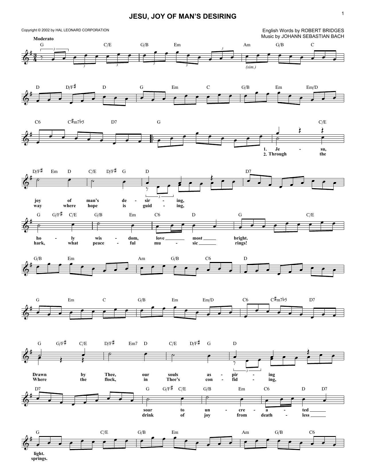 Jesu, Joy Of Man's Desiring (Lead Sheet / Fake Book)