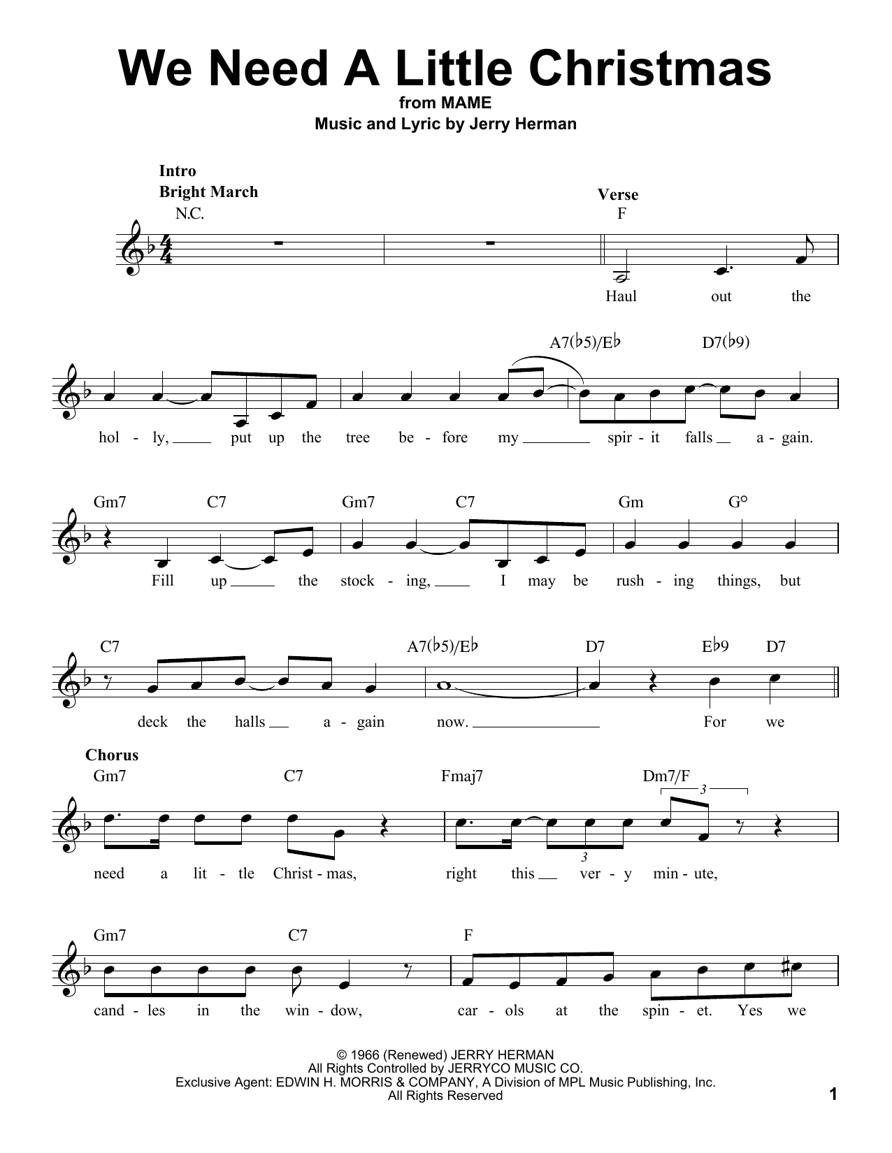 Need A Little Christmas.We Need A Little Christmas Pro Vocal Print Sheet Music Now