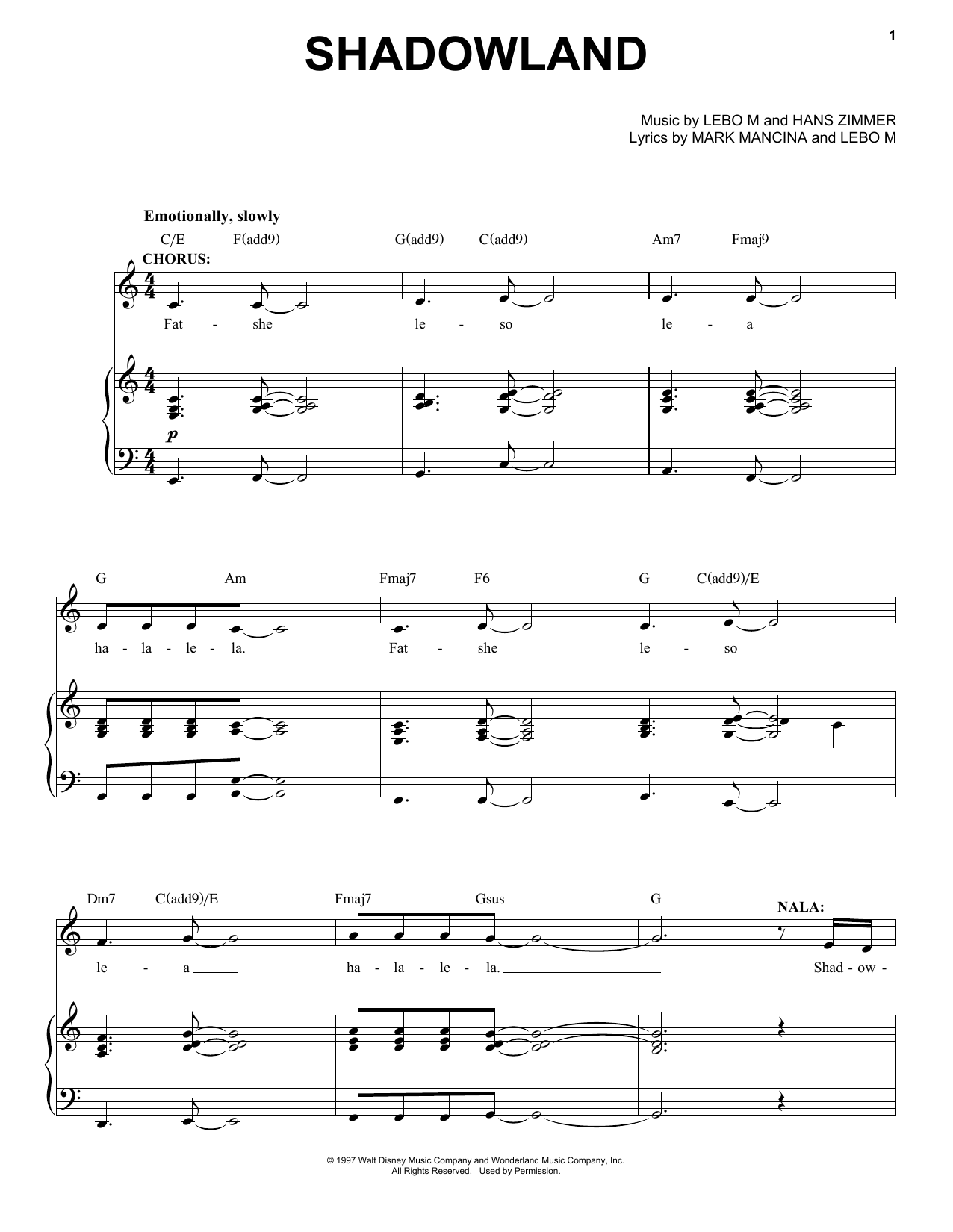 Shadowland (from The Lion King: Broadway Musical) (Piano, Vocal & Guitar (Right-Hand Melody))