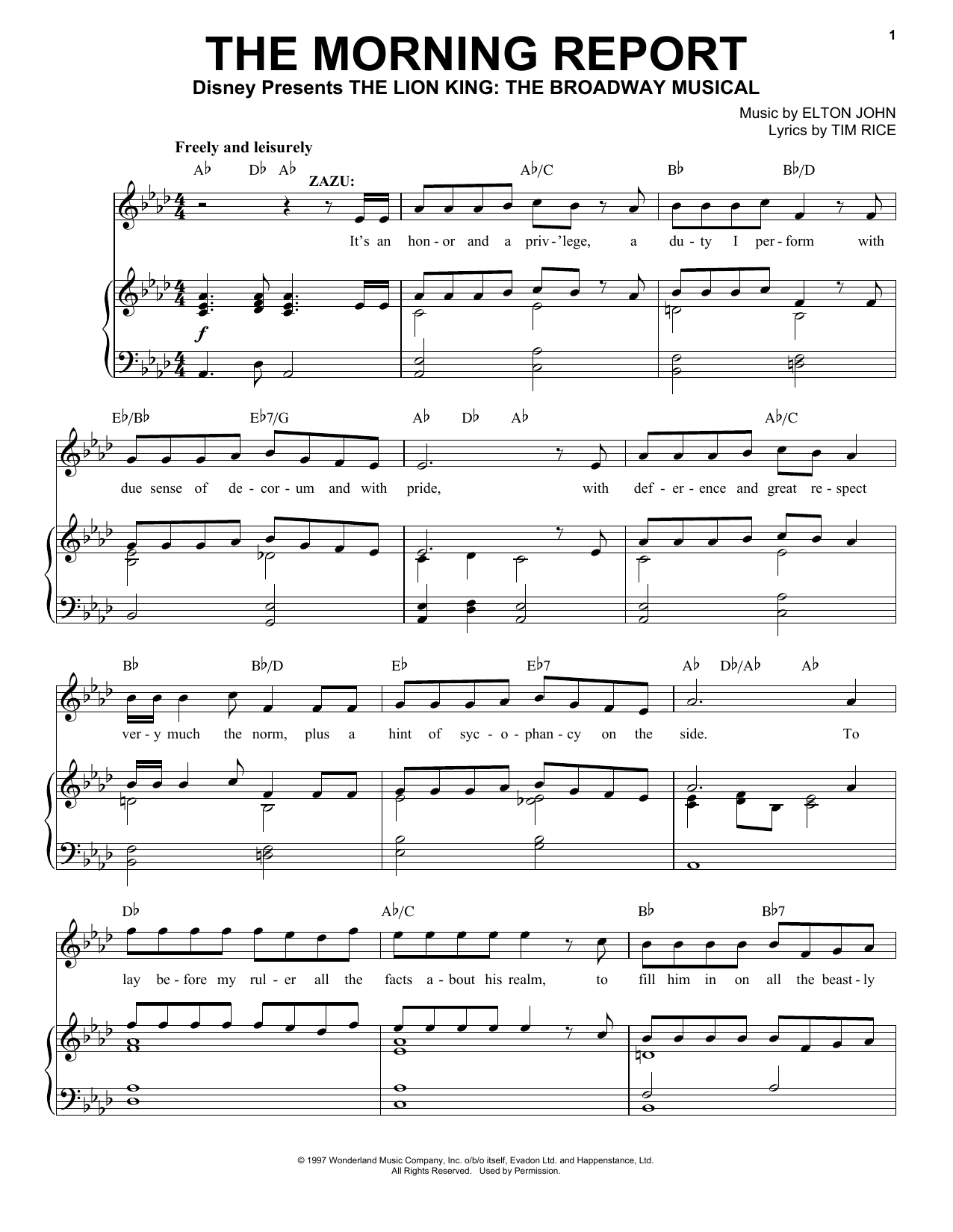 The Morning Report (from The Lion King: Broadway Musical) (Piano, Vocal & Guitar (Right-Hand Melody))