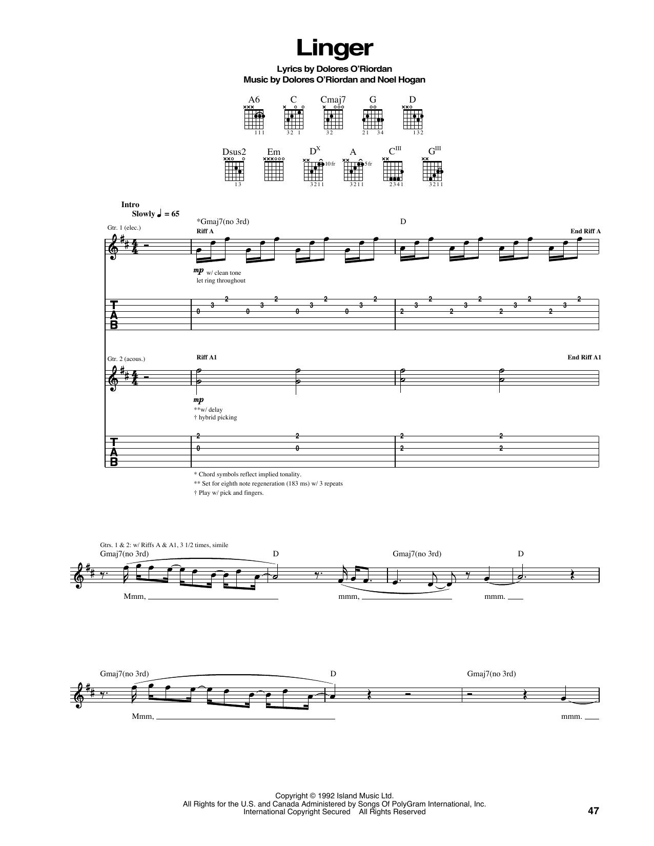 Linger Sheet Music