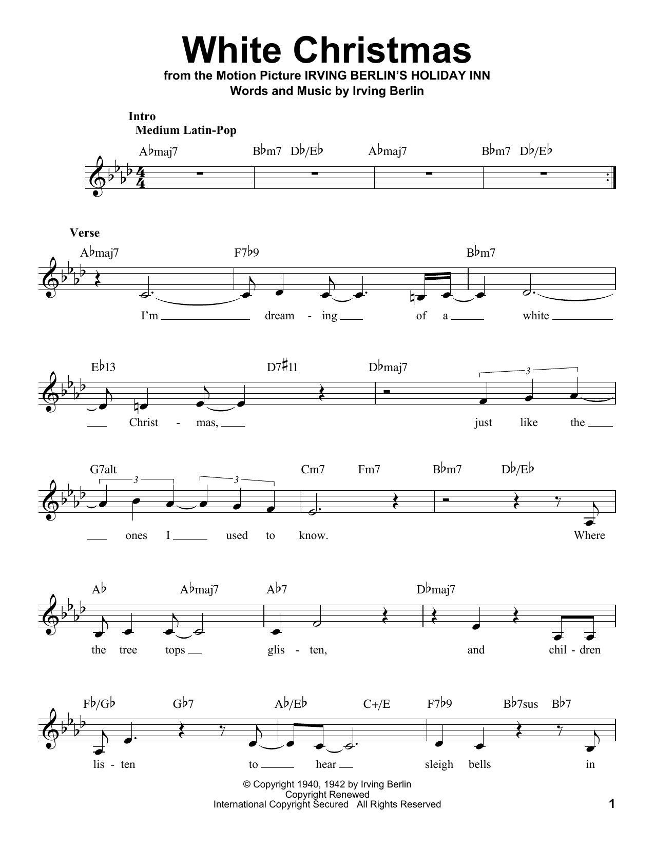White Christmas Sheet Music | Irving Berlin | Voice