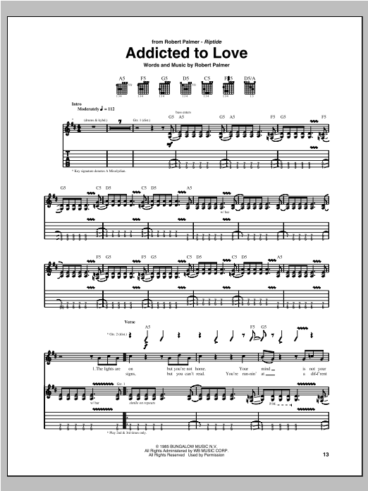 Addicted To Love Sheet Music