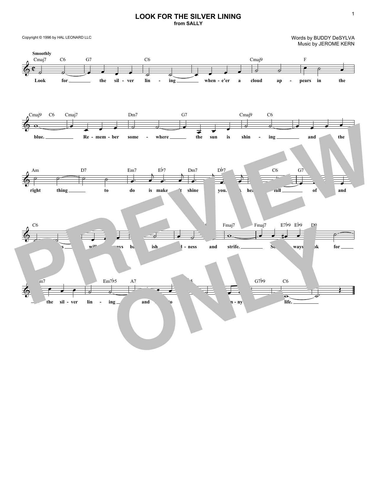 Look For The Silver Lining (Melody Line, Lyrics & Chords)