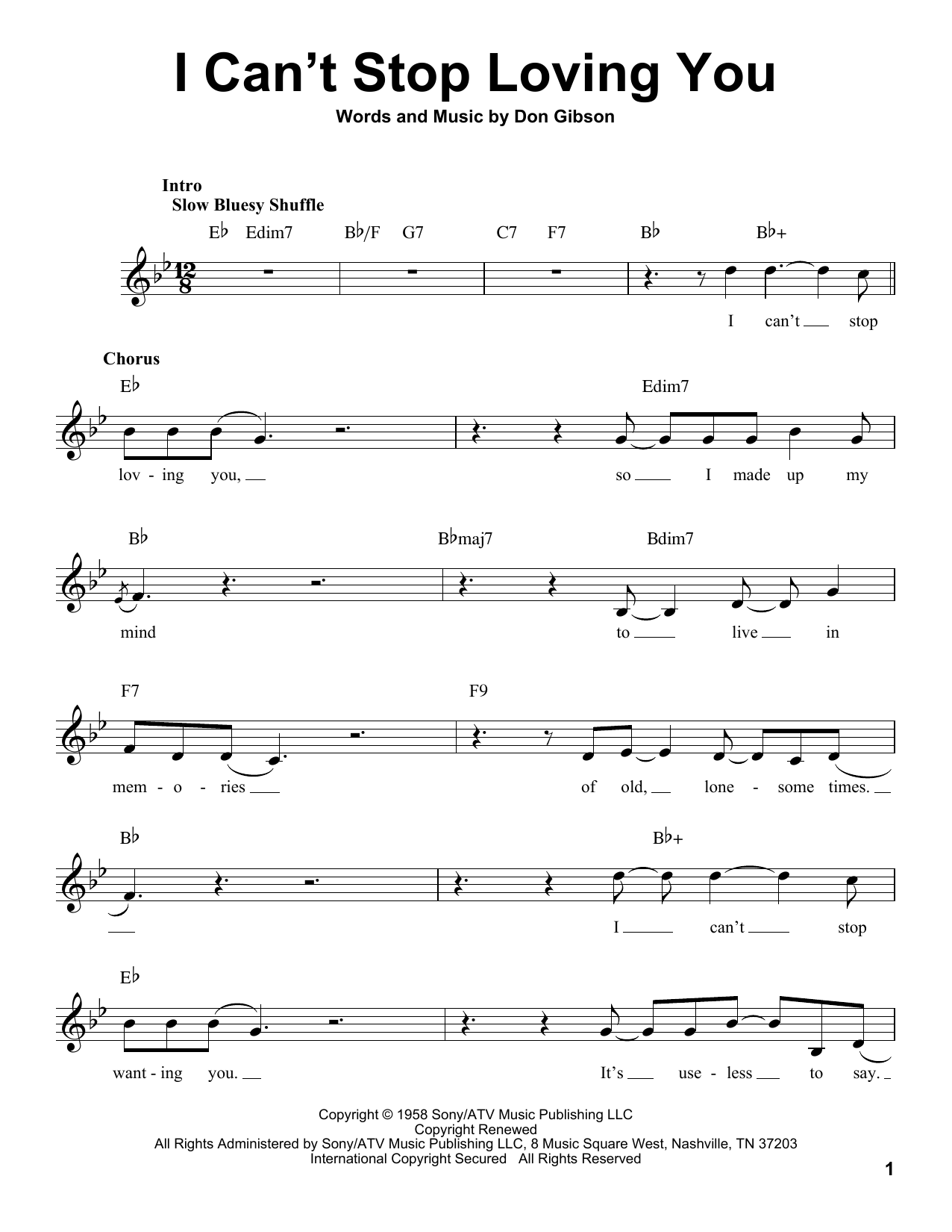I Can't Stop Loving You Sheet Music