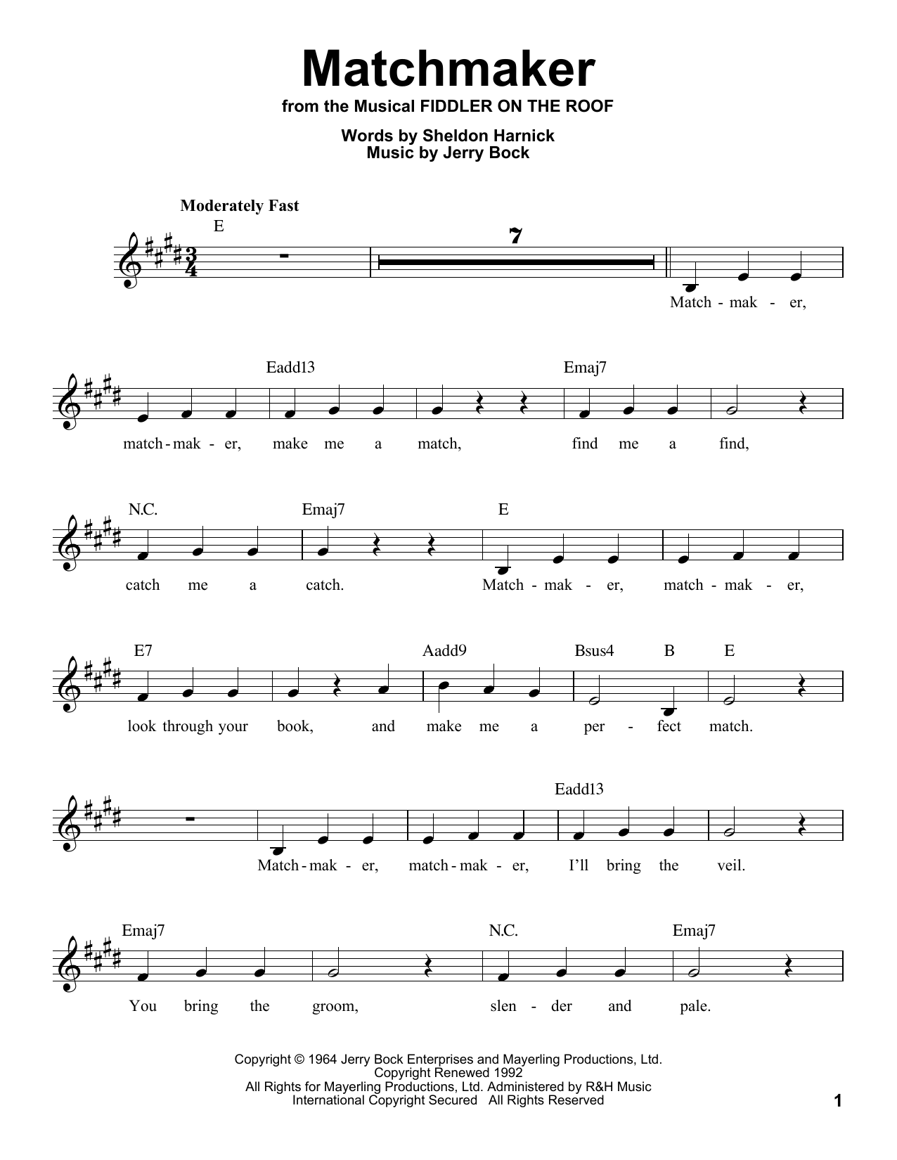 Matchmaker Sheet Music
