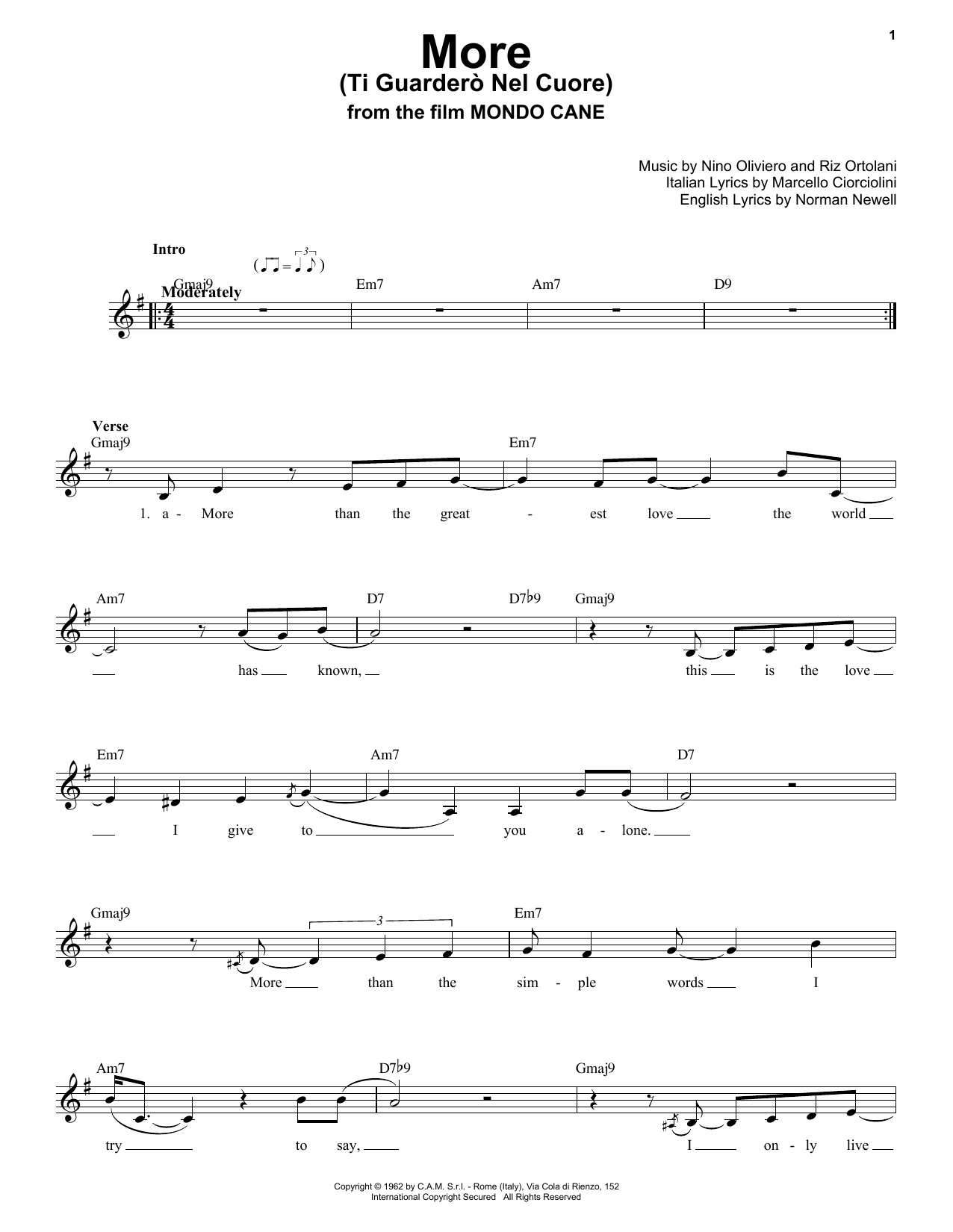 More (Ti Guarderò Nel Cuore) Sheet Music