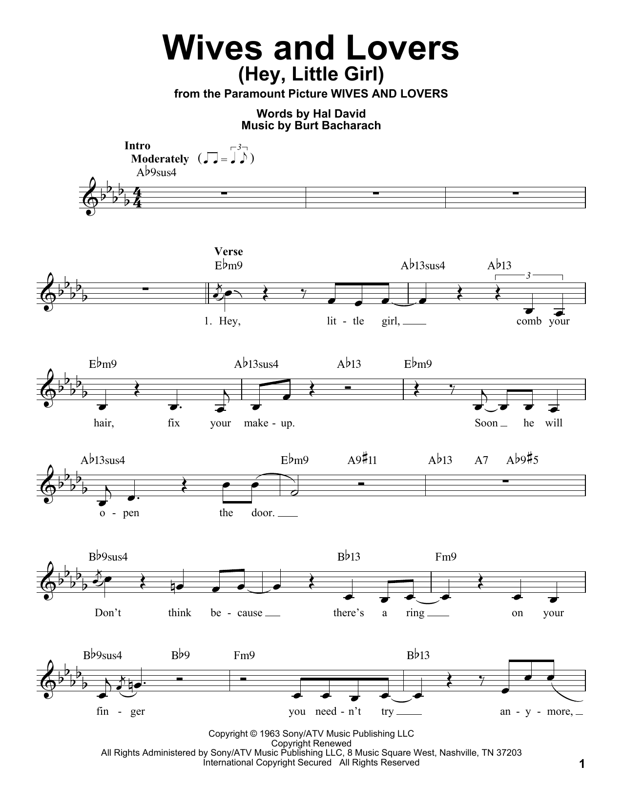 Wives And Lovers (Hey, Little Girl) Sheet Music