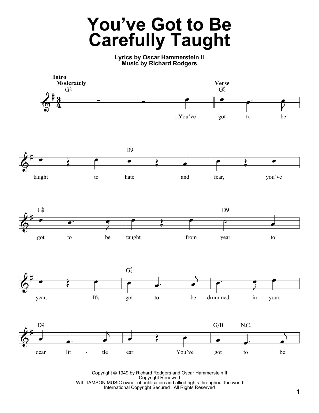 You've Got To Be Carefully Taught Sheet Music