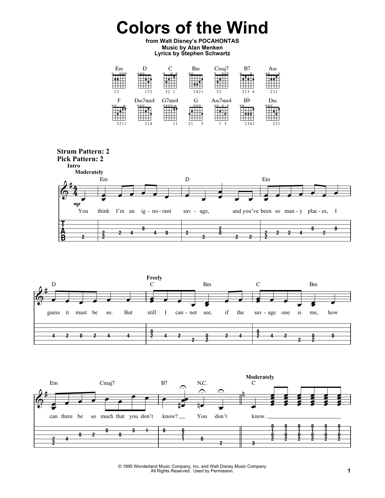 Colors Of The Wind (from Pocahontas) (Easy Guitar Tab)