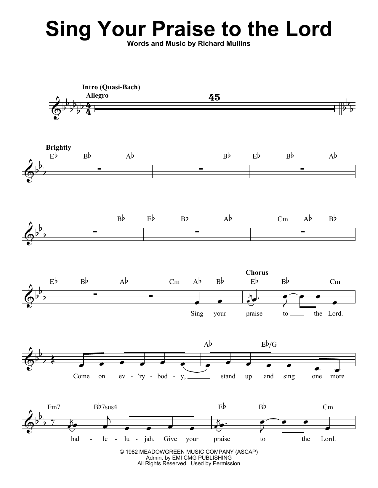 Sing Your Praise To The Lord Sheet Music