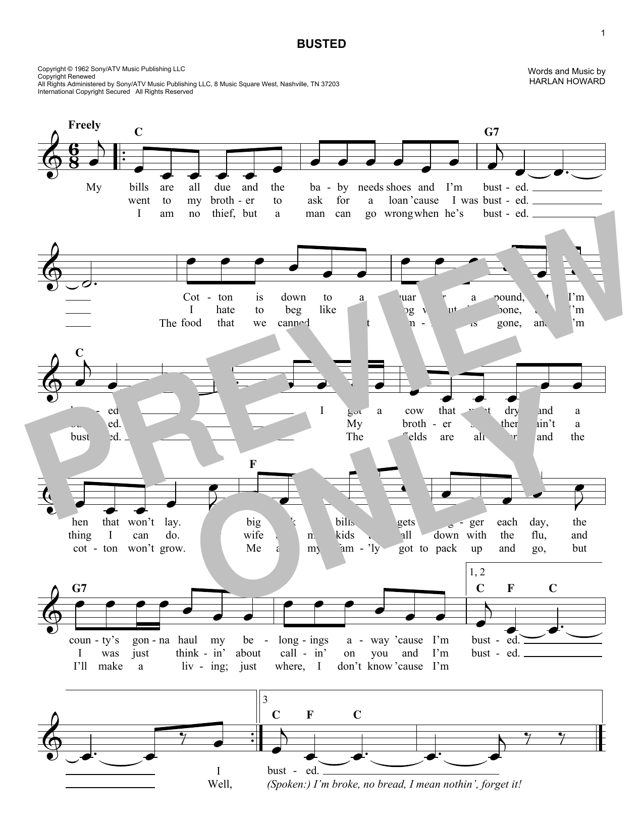 Busted (Lead Sheet / Fake Book)