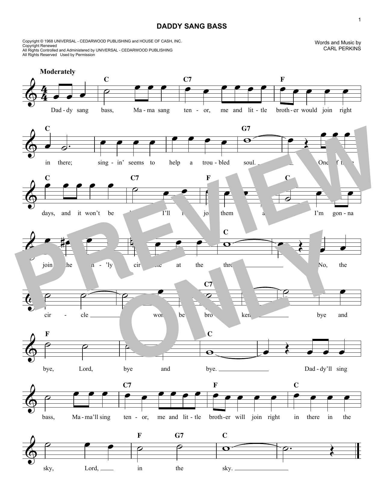 Daddy Sang Bass (Lead Sheet / Fake Book)