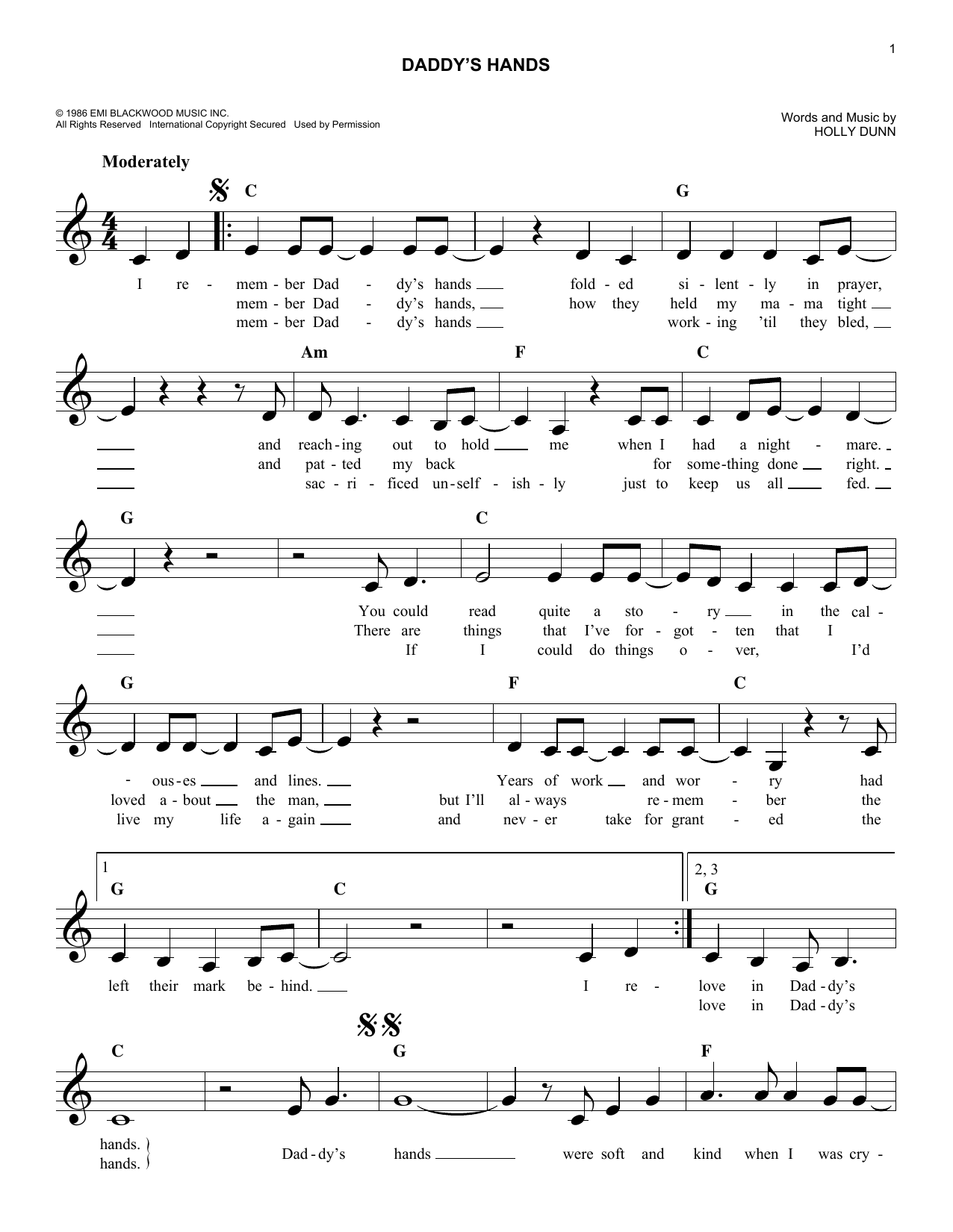 Daddy's Hands (Lead Sheet / Fake Book)