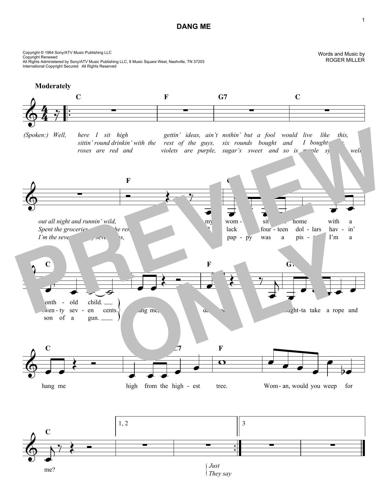 Dang Me Sheet Music