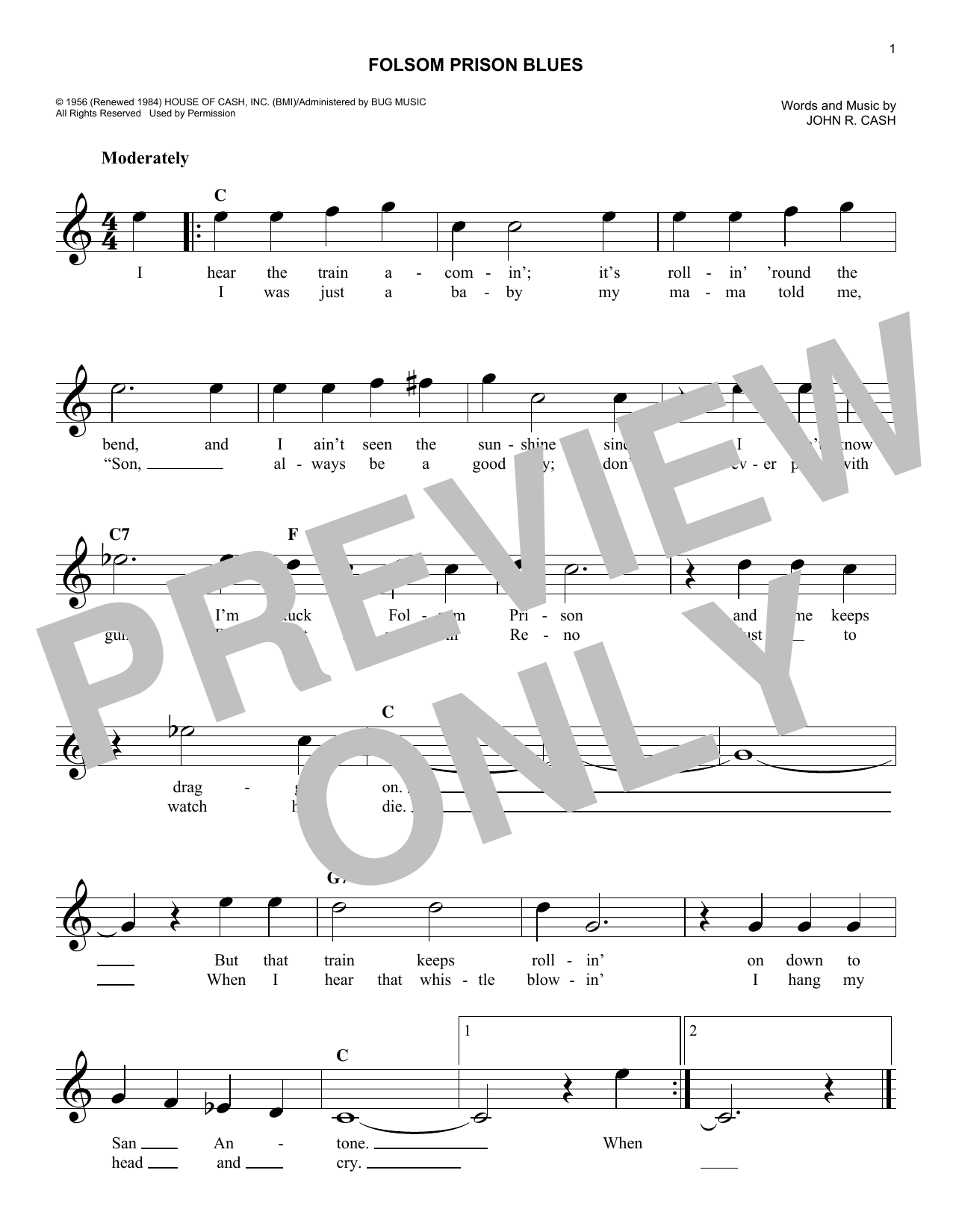 Folsom Prison Blues (Lead Sheet / Fake Book)