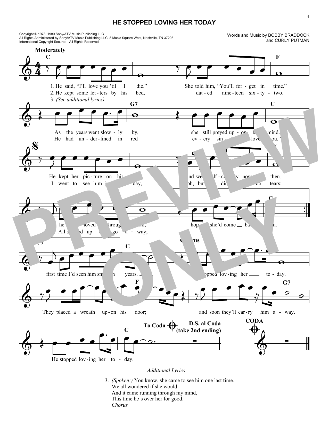 He Stopped Loving Her Today (Lead Sheet / Fake Book)