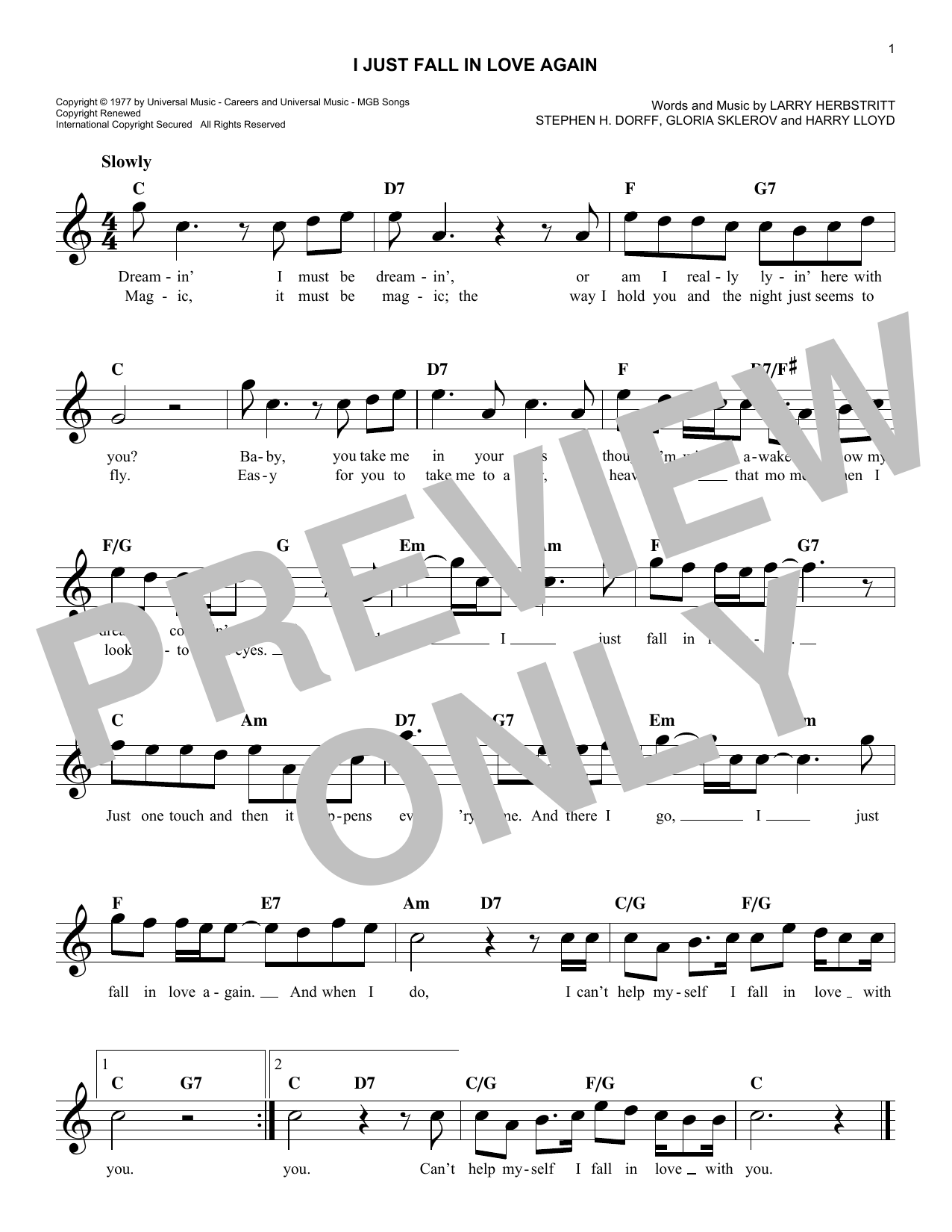I Just Fall In Love Again Sheet Music