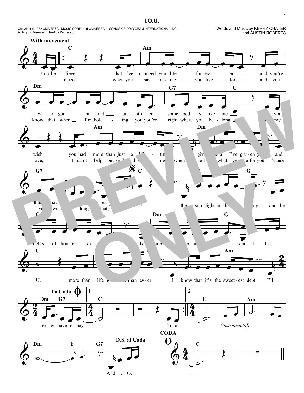 I.O.U. Sheet Music