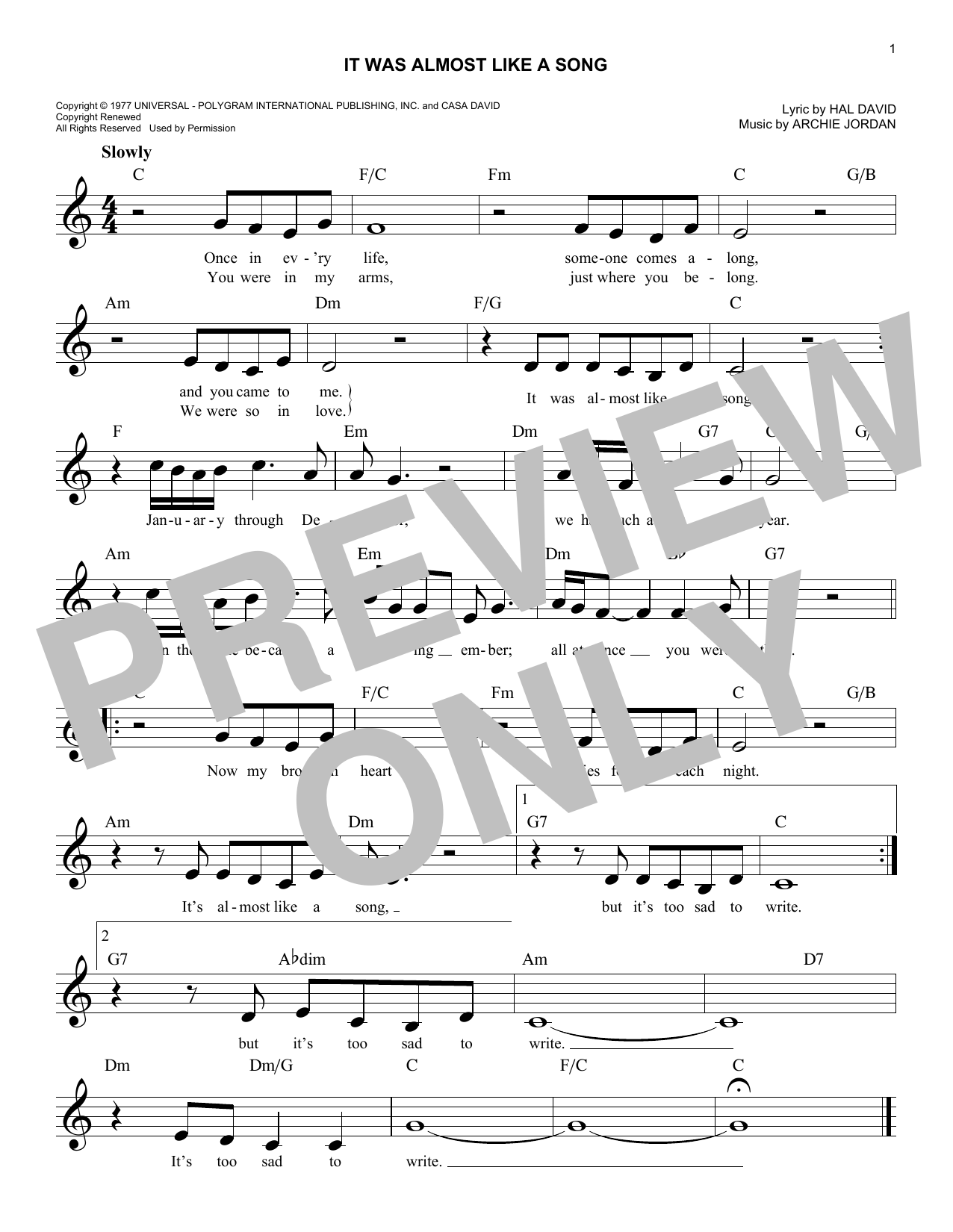 It Was Almost Like A Song (Lead Sheet / Fake Book)
