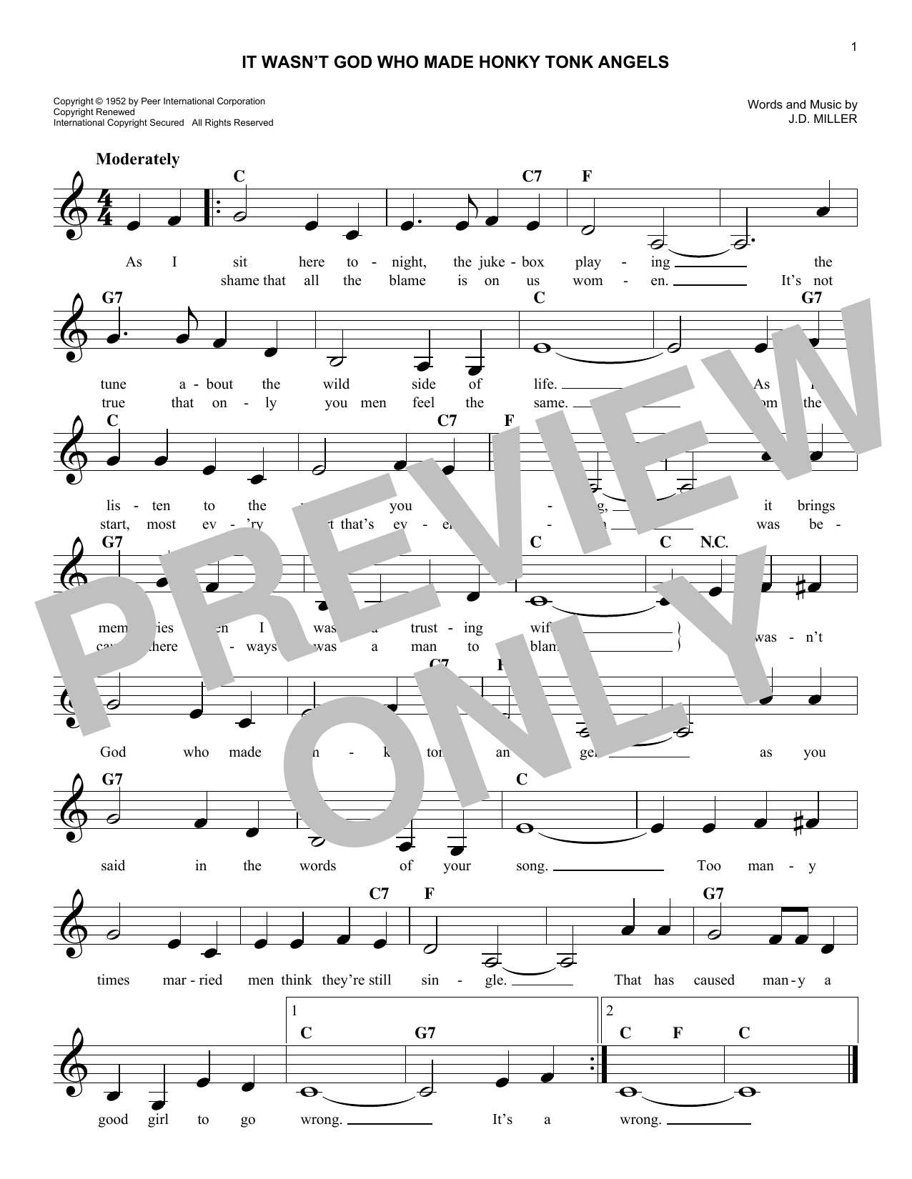 It Wasn't God Who Made Honky Tonk Angels Sheet Music