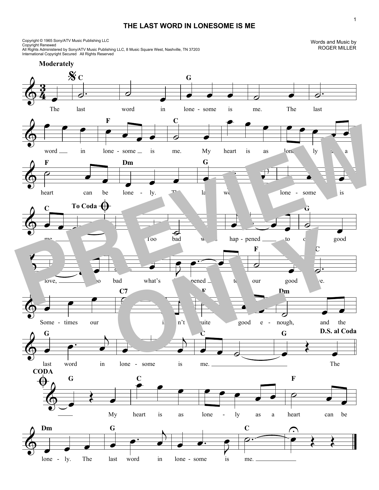 The Last Word In Lonesome Is Me (Melody Line, Lyrics & Chords)