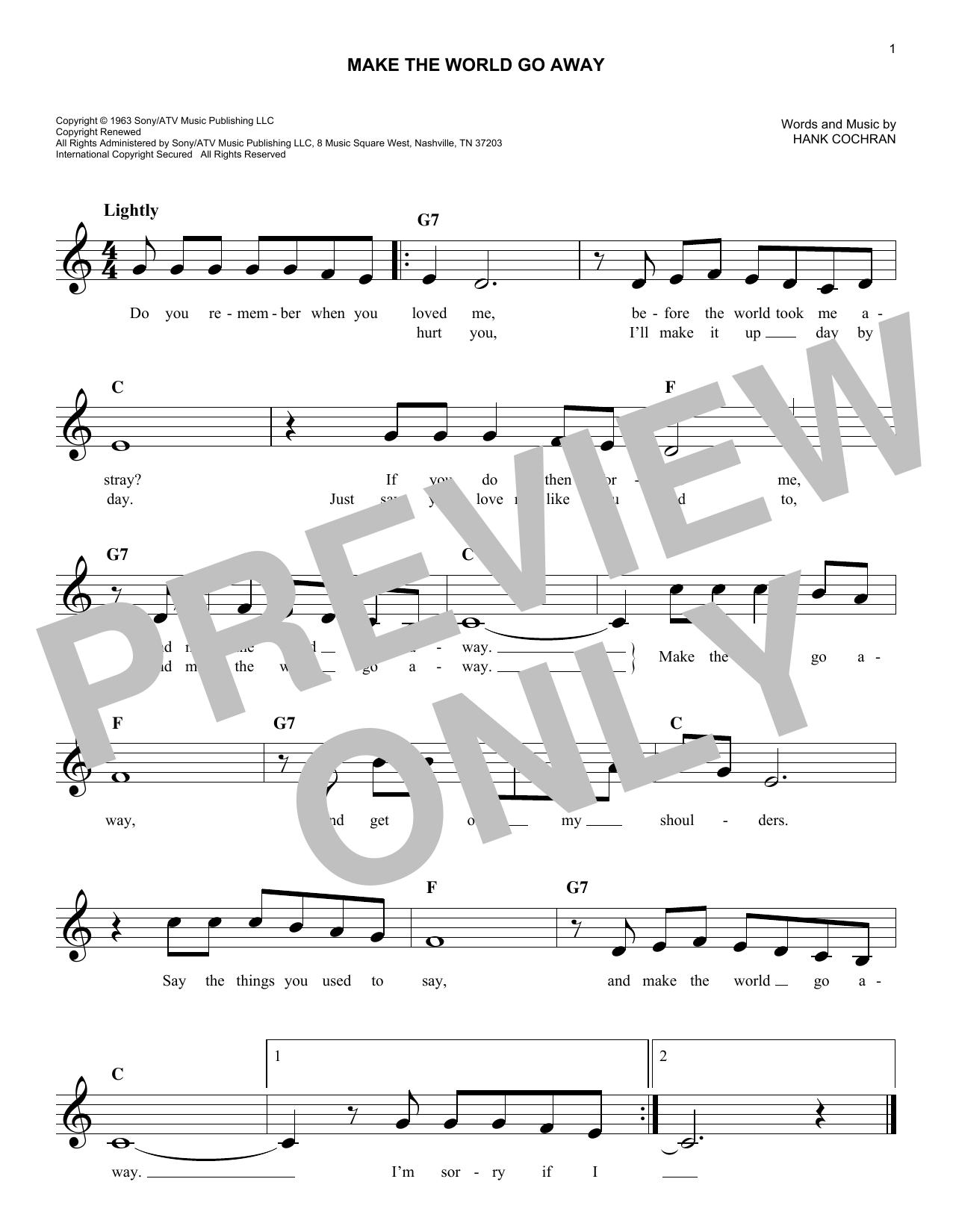 Make The World Go Away (Lead Sheet / Fake Book)