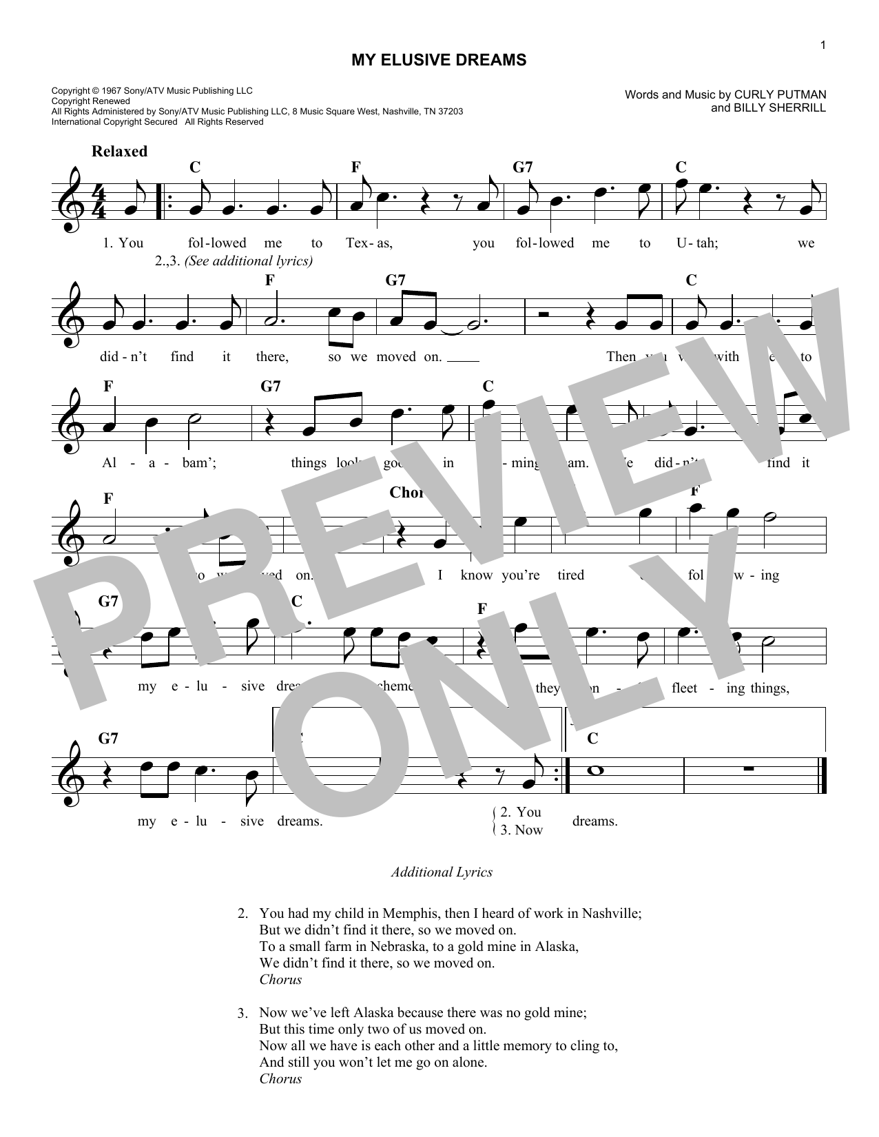 My Elusive Dreams Sheet Music