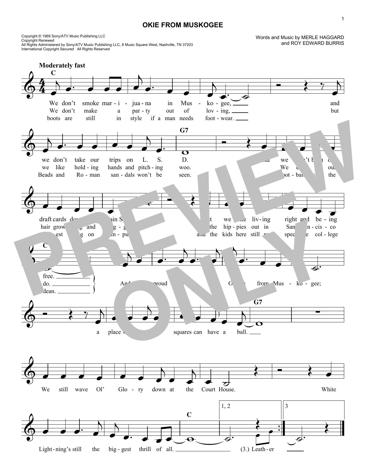 Okie From Muskogee Sheet Music