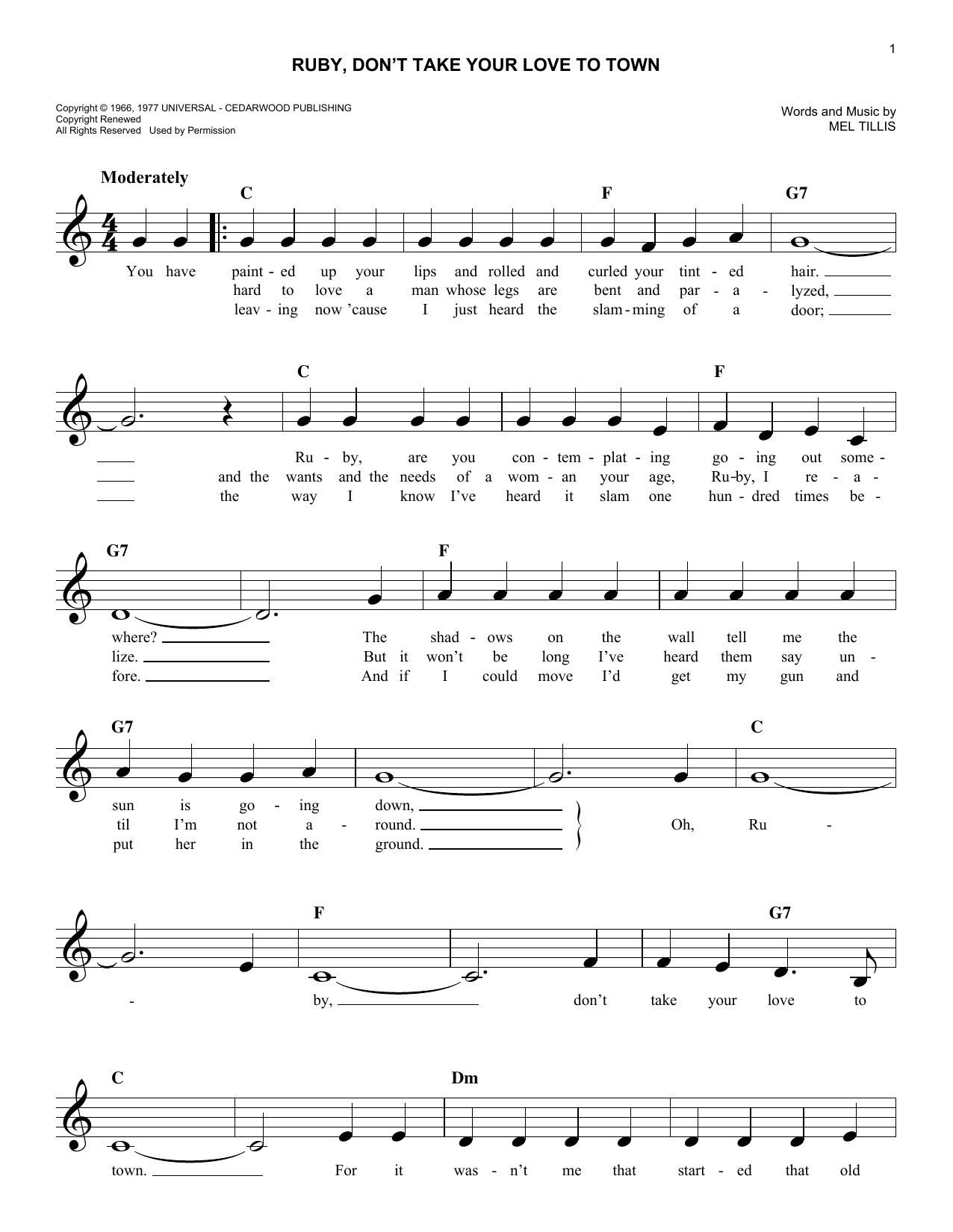 Ruby, Don't Take Your Love To Town Sheet Music