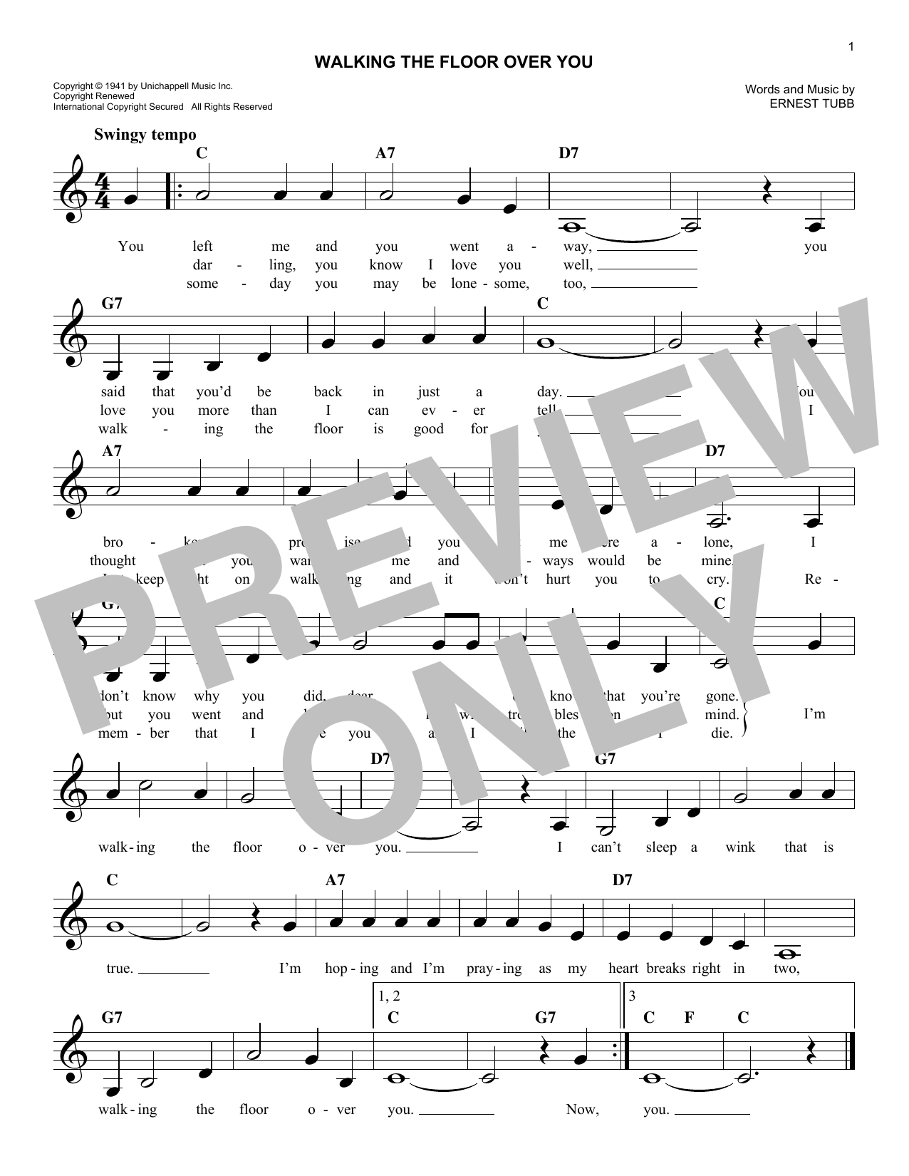 Ernest Tubb: Walking The Floor Over You   Melody Line, Lyrics U0026 Chords