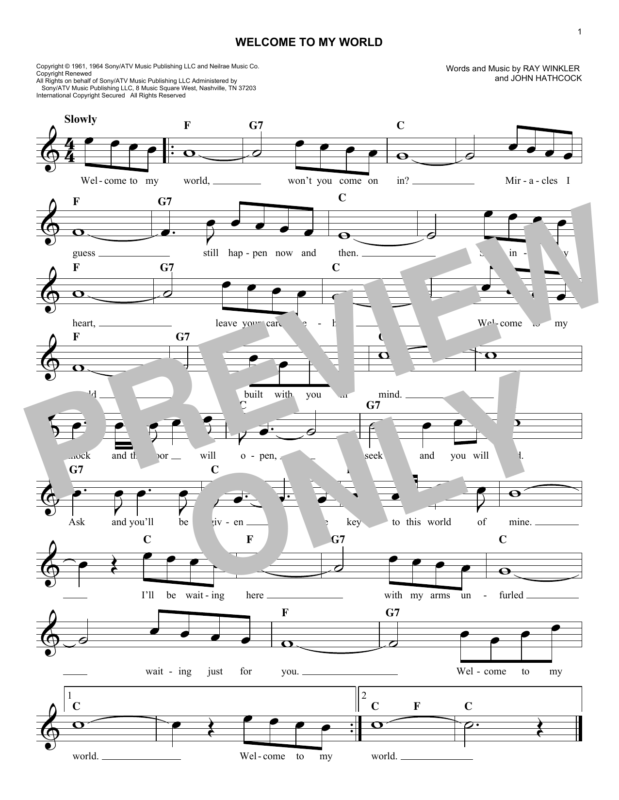 Welcome To My World (Lead Sheet / Fake Book)