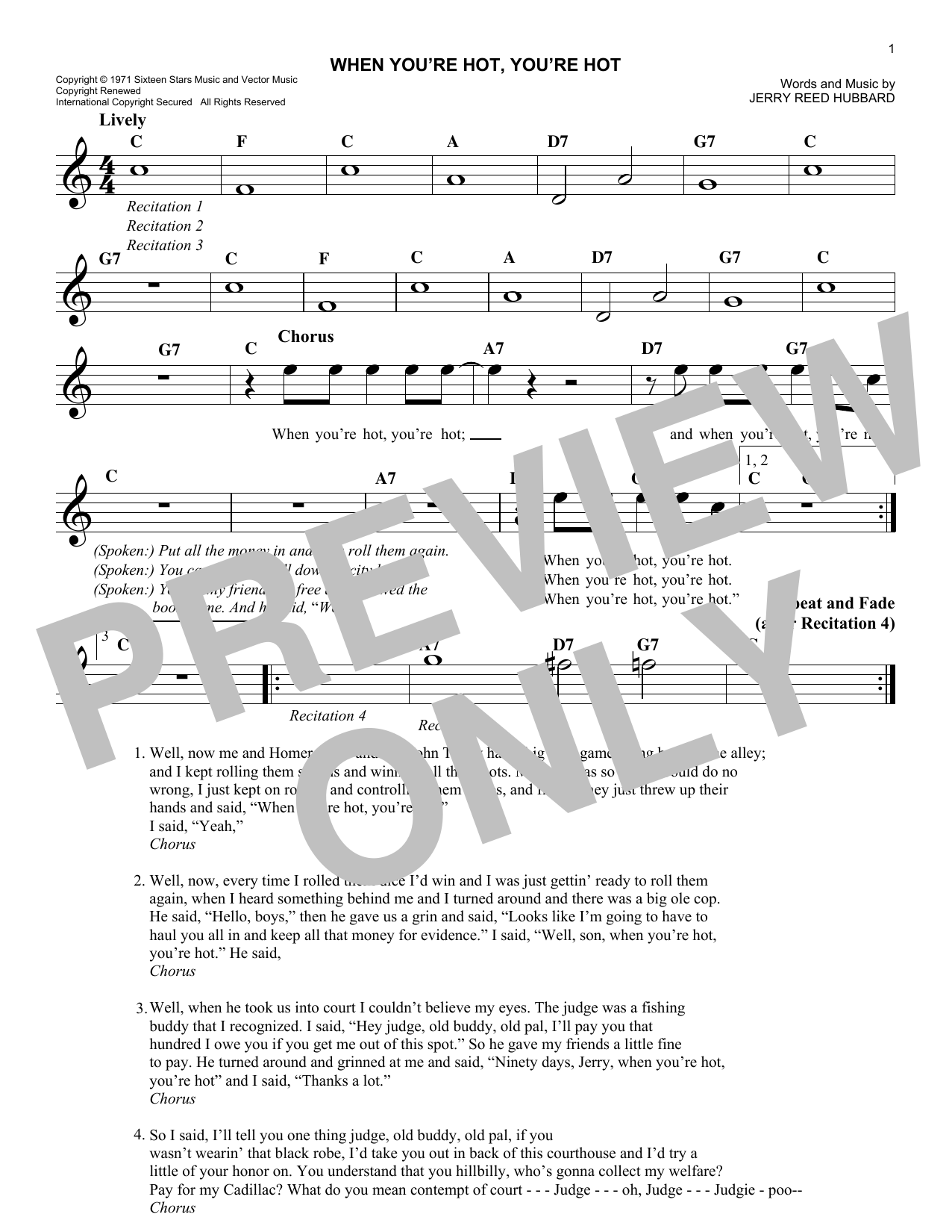 When You're Hot, You're Hot (Lead Sheet / Fake Book)