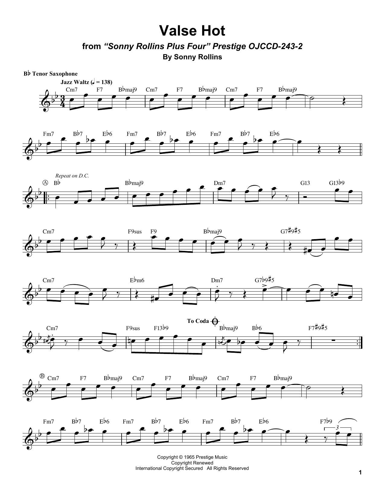 Valse Hot Sheet Music