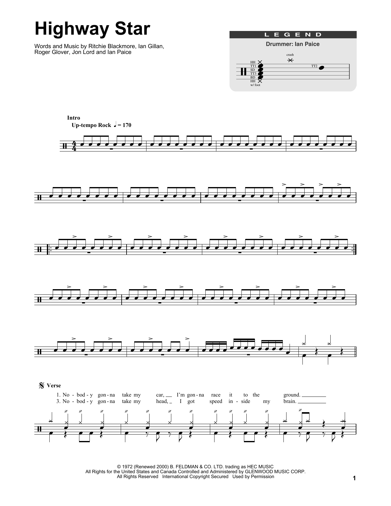 Highway Star Sheet Music