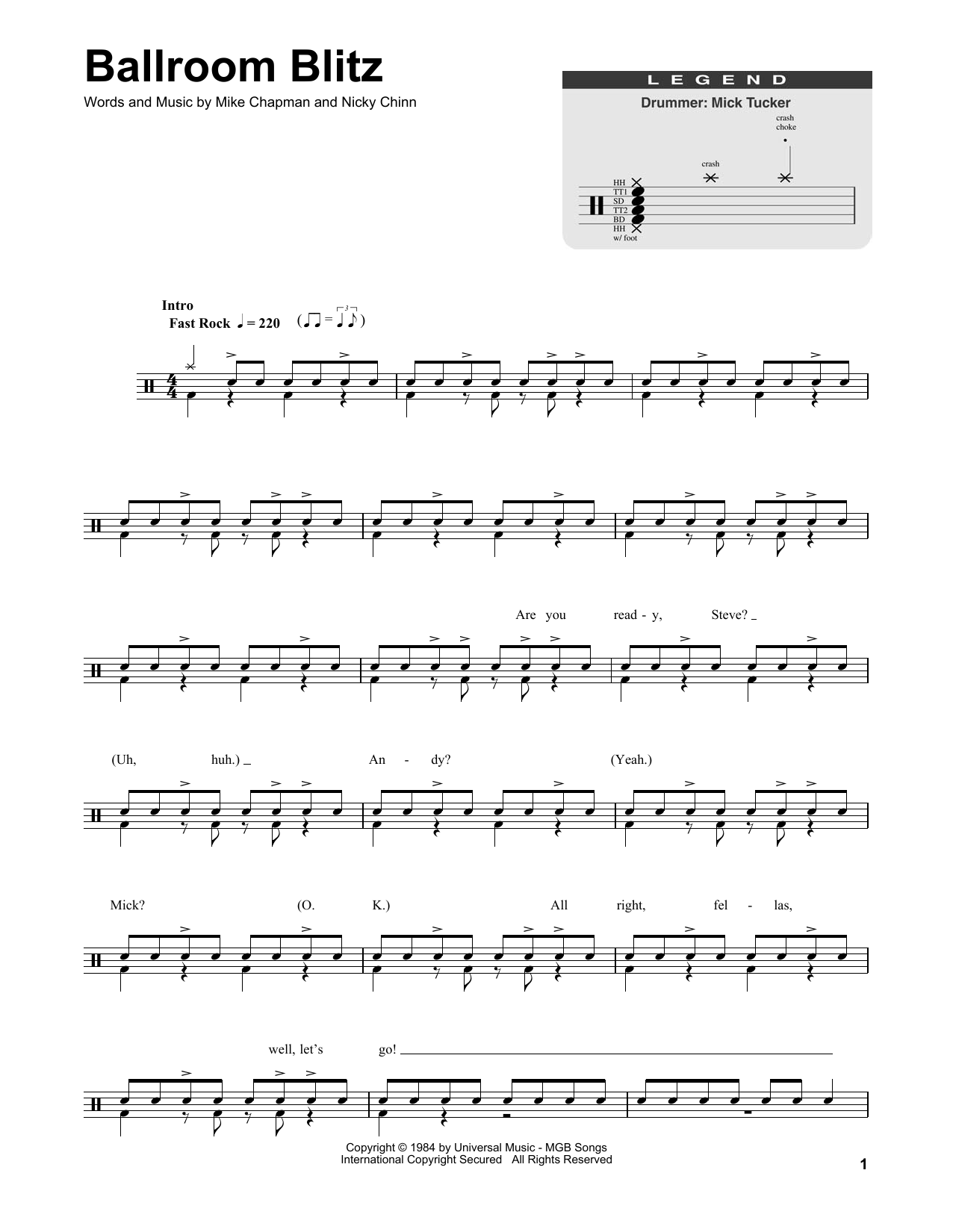 Ballroom Blitz Sheet Music