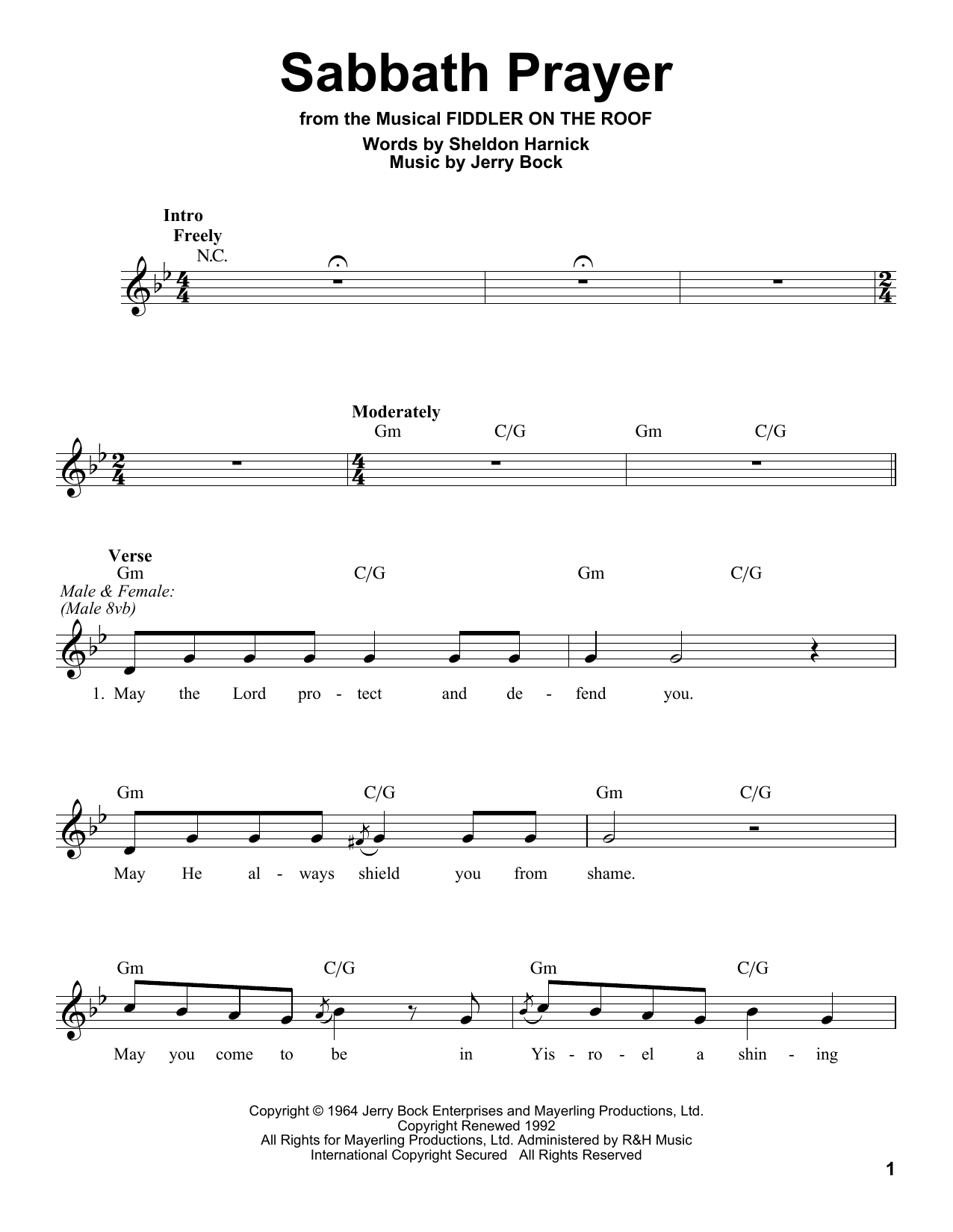Sabbath Prayer Sheet Music
