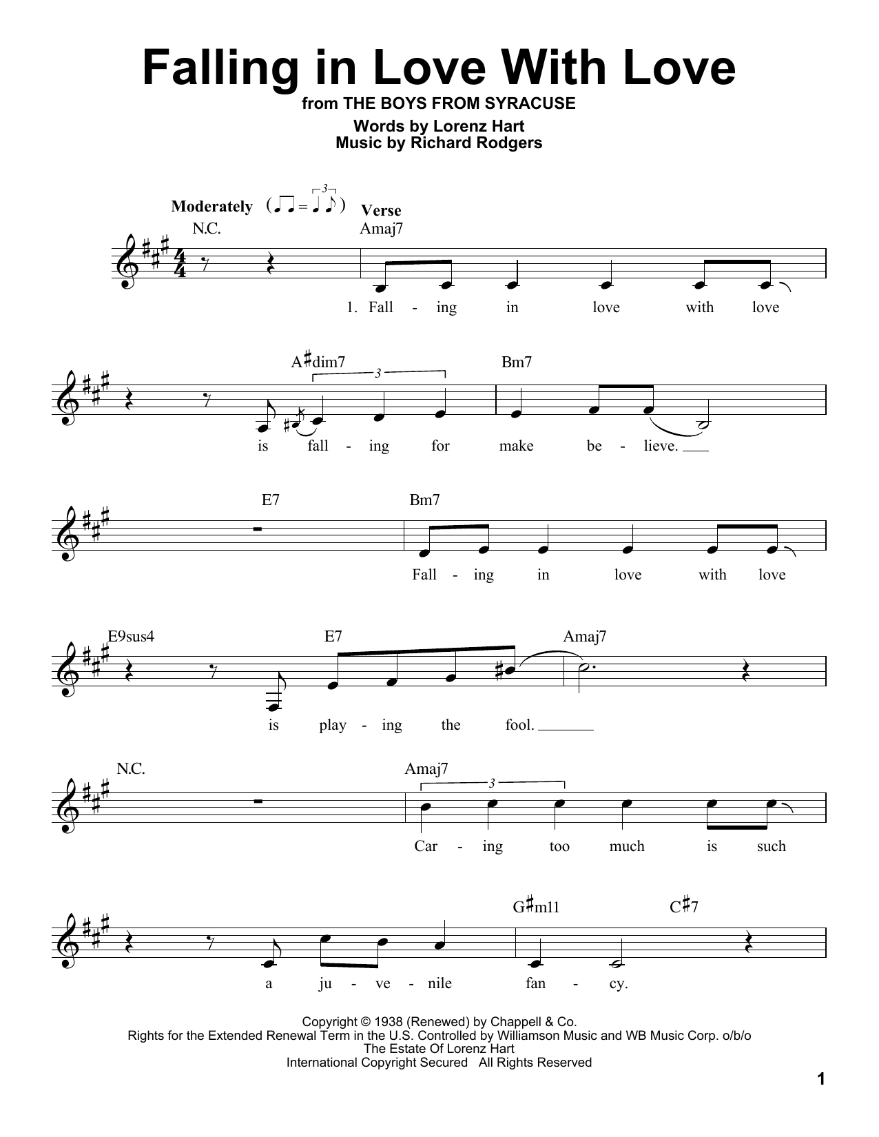 Falling In Love With Love Sheet Music