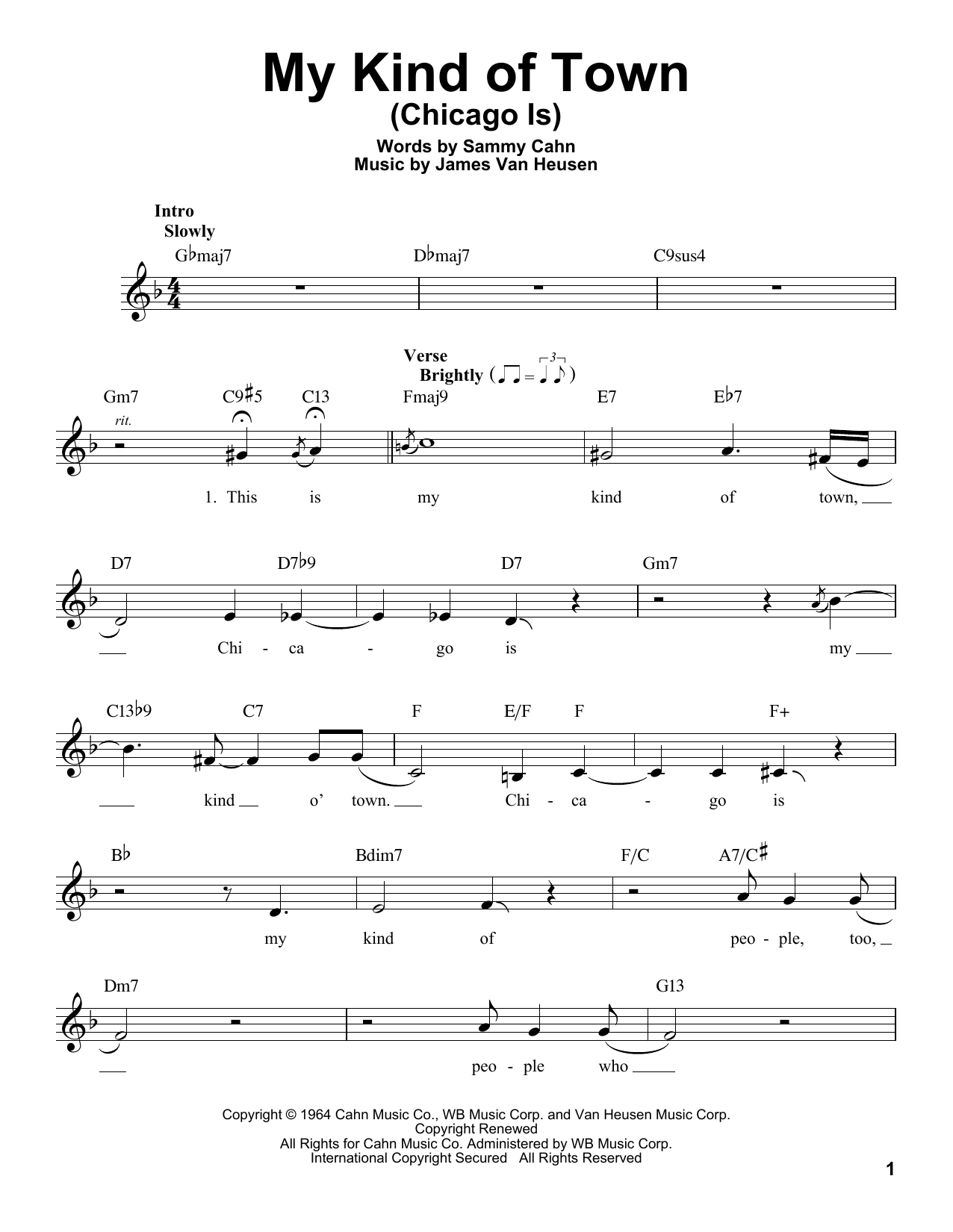 My Kind Of Town (Chicago Is) Sheet Music