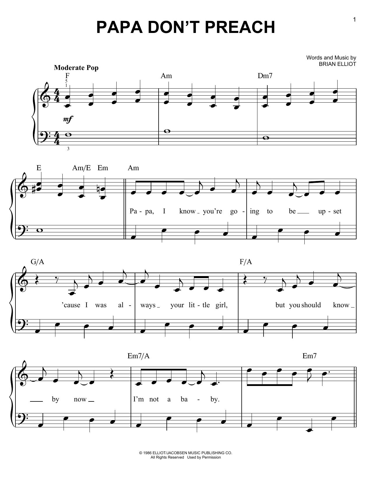 Papa Don't Preach (Easy Piano)