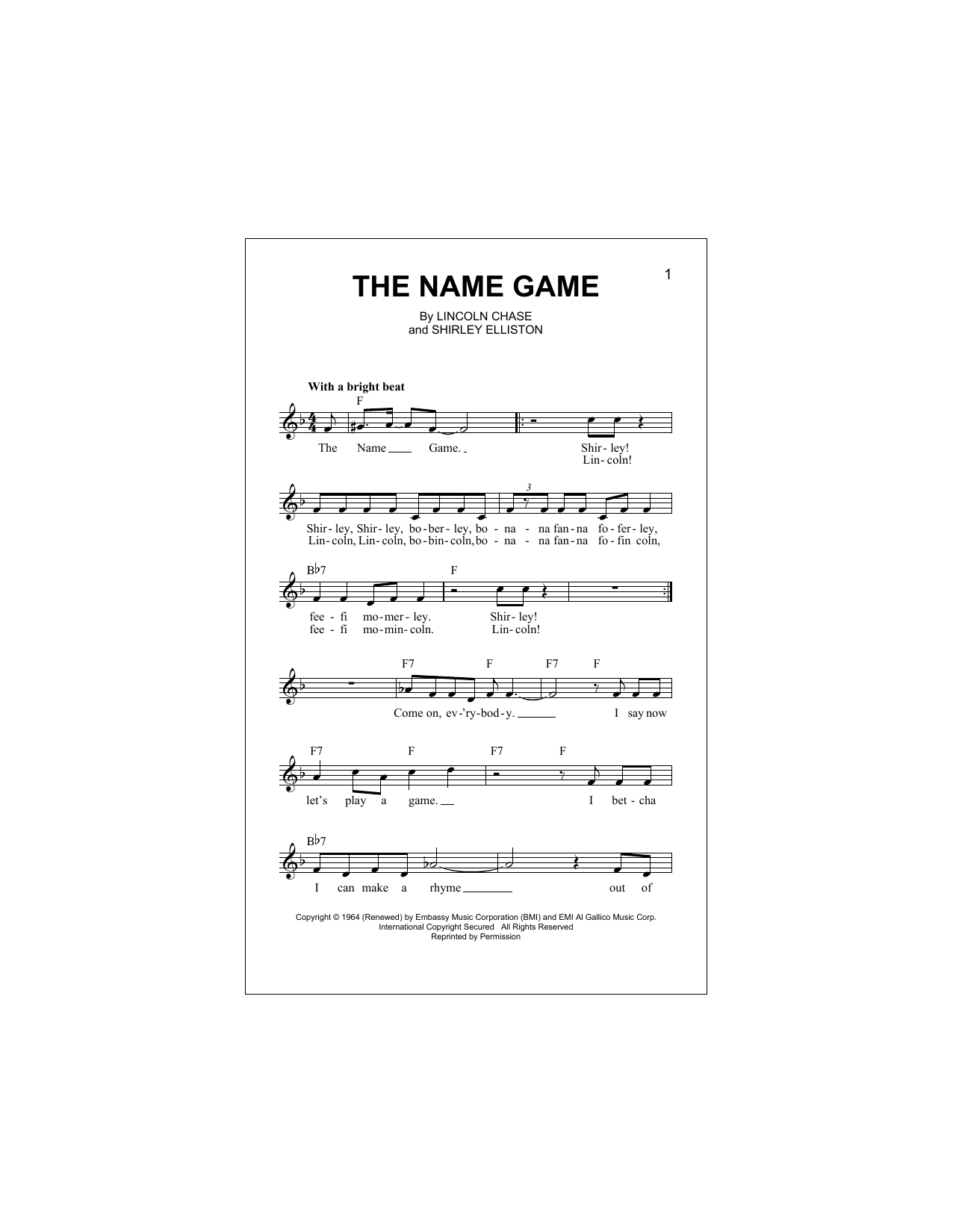 The Name Game Sheet Music