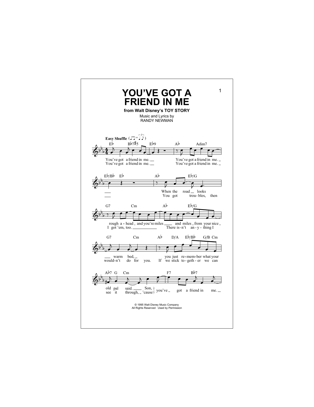 You've Got A Friend In Me (from Toy Story) (Lead Sheet / Fake Book)